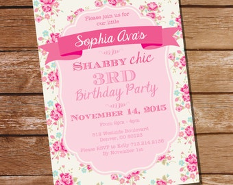 Shabby Chic Birthday Party Invitation - Shabby Chic floral Invitation - Instant Download and Edit File at home with Adobe Reader