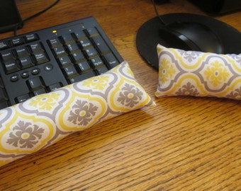 Yellow and Gray Wrist Rest, Mouse Wrist Rest, Keyboard Wrist Support