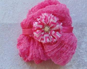 Raspberry Cheesecloth and Jeweled Chevron Flower Headband