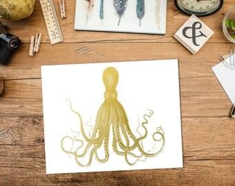Octopus Print in Gold Foil, Gold Foil Octopus Print, Beach Art, Gold Nautical Wall Decor, Coastal Decor, Octopus Art Print, Gold Kraken