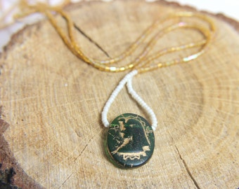 Pharaoh necklace. Egyptian style jewelry. Green golden necklace. Vintagestyle necklace tutmania. Bohemian jewelry
