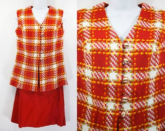 Vintage 60's Burnt Orange Yellow Tweed 2 Piece Set Suit Vest & Skirt M