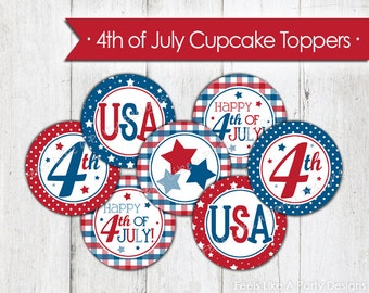 4th of July Cupcake Toppers - Instant Download