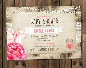 Rustic, Mason Jar, Burlap and Lace Baby Shower Invitation, Invite, Shabby, watercolor flower, Printable, Customize _1003