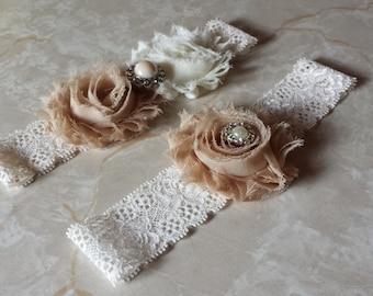 Tan/Ivory Wedding Garter -  Bridal Garter Set - Ivory Stretch Lace - Pearl Rhinestone embellishment.  .