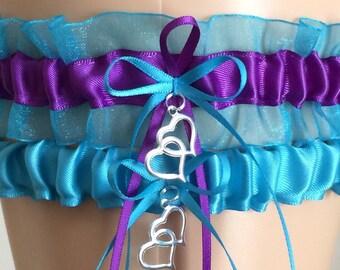 Wedding Garter Set, Bridal Garter Set, Turquoise Organza and Purple Garter Set, Keepsake Garter, Prom Garter, Weddings