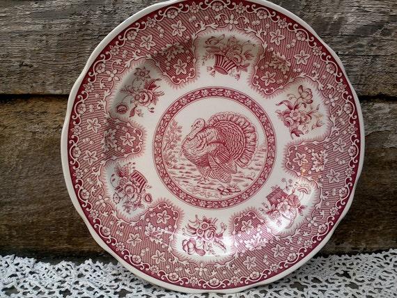 Spode Turkey Dinner Plate Red Transferware