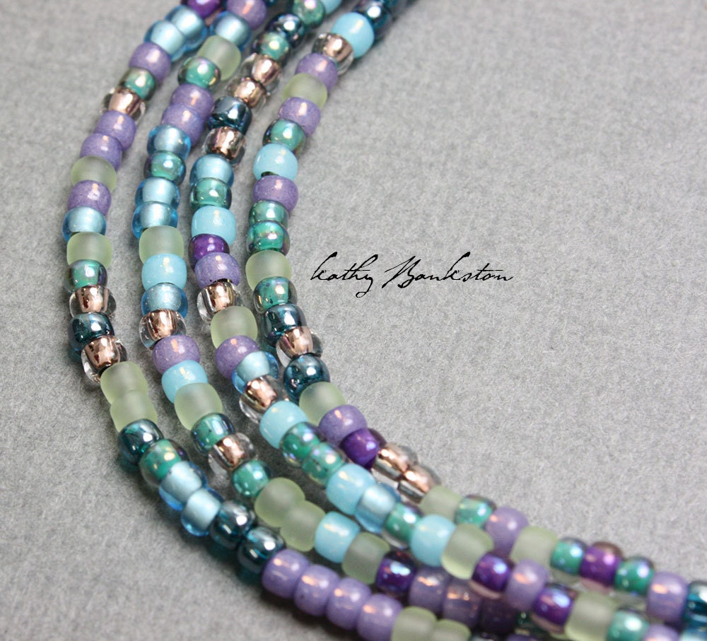 Beads Necklace Beads: Blue Purple Seed Bead Necklace Long Seed Bead Necklace Blue