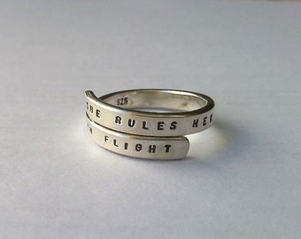 Fleetwood Mac Handstamped Sterling Silver Ring, She rules her life like a bird in flight. 925 -Adjustable