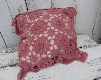Vintage  Pink Crochet Lace Rose Throw Pillow