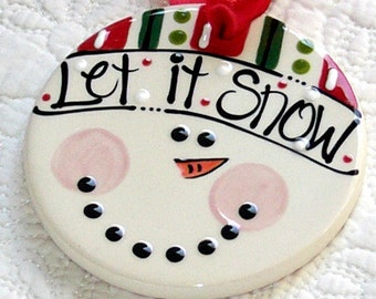 JULY SALE //  Personalized Snowman Ornament  'Let It Snow'