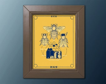 Honey Bee Life Cycle Poster Diagram Navy Blue on Gold Beekeeper Diagram Science Vintage Biology 8x10 11x14 16x20 18x24