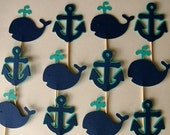 12 Anchor and Whale Cupcake Toppers, Aqua and Navy Blue, Nautical, for Birthday, Baby Shower