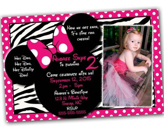 SALE Zebra Minnie Mouse Invitation with FREE Thank you card, Minnie Mouse Birthday, Pink Minnie Mouse invitations, Minnie Mouse party