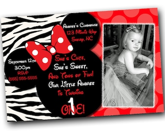 SALE Red Zebra Minnie Mouse Invitations with FREE Thank you card