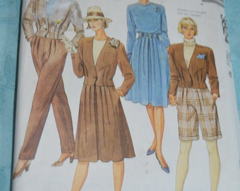 McCalls  3824  Misses Unlined Jacket Top Skirt Pants and Shorts Sewing Pattern - UNCUT - Size 16