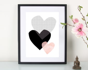 Artprint, 3 heart""