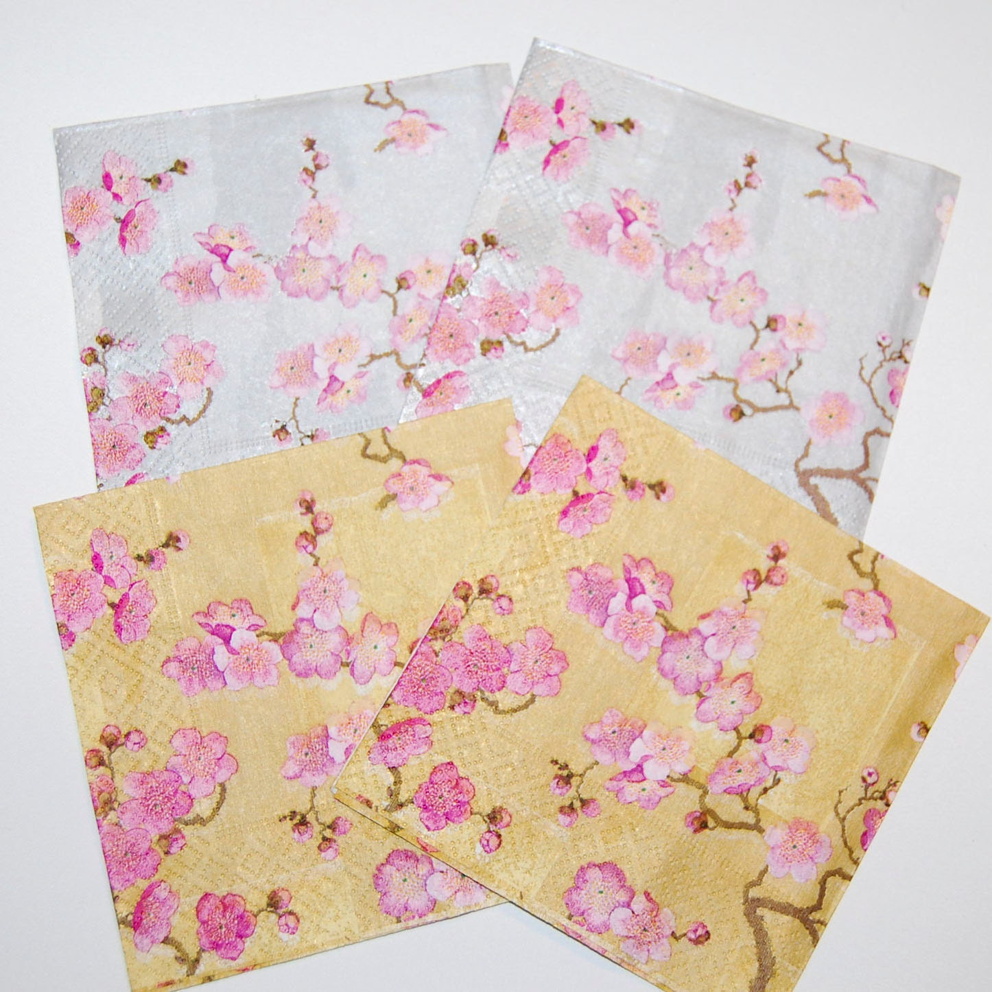 Decoupage Napkins Cherry Blossoms In Pink Gold And