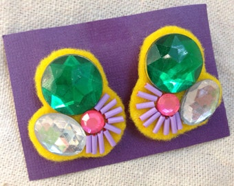 Abstract Cluster Embroidered Earrings