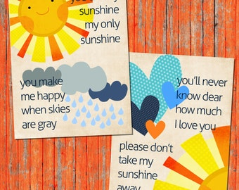 INSTANT DOWNLOAD  You are My Sunshine  PDF Printable File