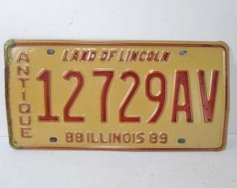 1988 Antique Vehicle Illinois License Plate 12729AV