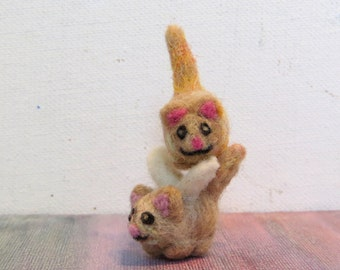 Tiny Needle Felted Totem Cats - With or Without Wings - Customizable and Made to Order Avaliable