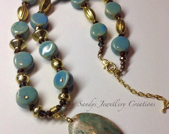 Ceramic Beaded Necklace .