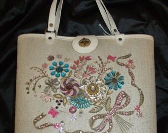 Vintage 60s Jeweled Rhinestone Floral Bouquet Purse