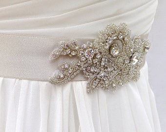 Beaded Bridal Sash-Wedding Sash In Platinum with Crystals, Wedding Dress Sash, Bridal Belt, COLOR CHOICES