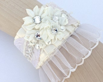 Vintage Style Lace Bridal Cuff Bracelet In Ivory With Crystals And Pearls, Wedding Bracelet