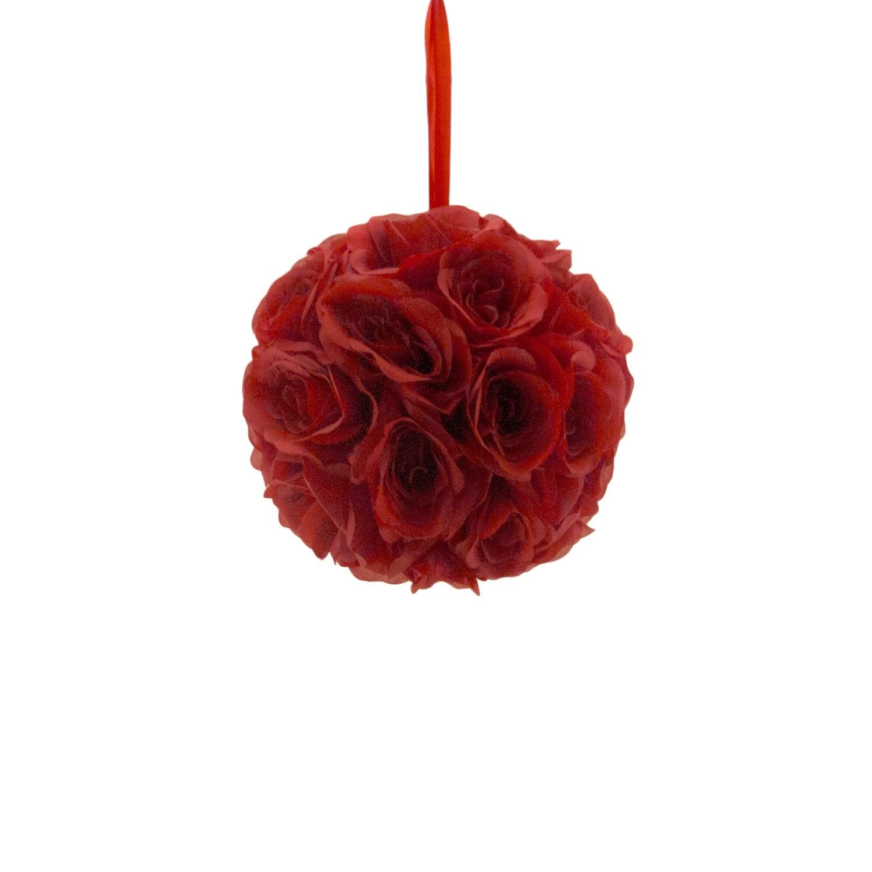 9 Red Silk Rose Flower Pomander Kissing Balls Wedding