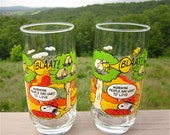 Set of Two Camp Snoopy, Vintage 1965, Tumbers, Morning People are Hard to Love