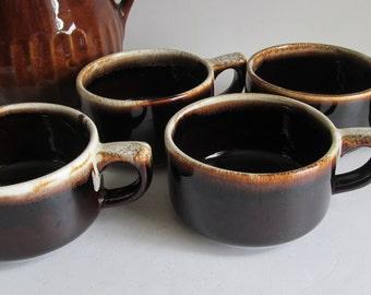 set pfaltzgraff brown drip chowder bowls brown pottery gourmet pattern brown drip pfaltzgraff patterns 1950s soup - Pfaltzgraff Patterns
