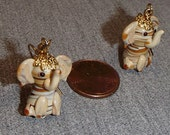 Lampwork Bead Elephant Pierced Earrings Cream with Stripes, Adult or Children's Jewelry