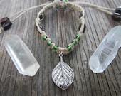 Leaf Hemp Bracelet with Green Glass Beads & Wooden Beads