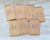 RESERVED - Five Embroidered Bike Mini Reporter Notebooks