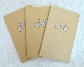 Bike Notebook - Embroidered Moleskine