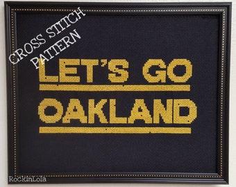 LET'S GO OAKLAND scoreboard cross stitch pattern - oakland athletics - pattern created by RockinLola
