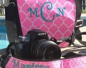 Matching monogram camera bag and strap set, embroidered Monogram camera bag and personalized camera strap, Quatrefoil or chevron camera bag