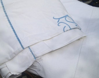 Large French Vintage Linen Sheet embroidered with initials 'P.R'