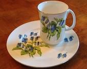 "Crown Sterling ""Brighton Bluebells"" Salad Plate and Mug"