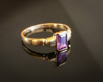 Emerald Cut Natural Amethyst Ring Gold Plated Amethyst Ring Vermeil Gold Amethyst Ring Gold Amethyst Ring