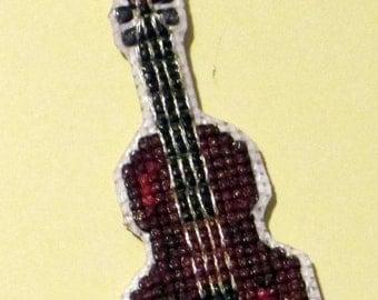Violin cross stitch magnet