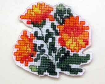 October Calendula cross stitch magnet
