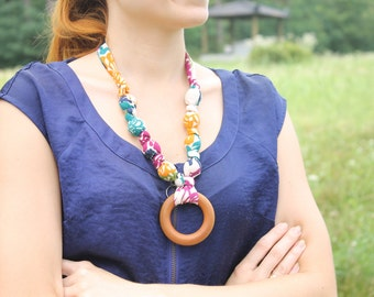 Fabric Necklace with Wood Ring Pendant,Teething Necklace, Chomping Necklace, Nursing Necklace - Gold, Magenta amd Navy