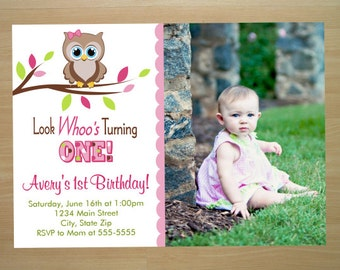 Owl Girl 1st Birthday Invitation - Digital File (Printing Services Available)