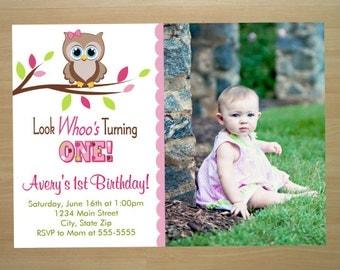 Owl Girl 1st Birthday Invitation - Digital File (Printing Available)