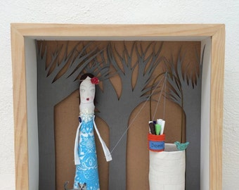 Make your own shadow box art doll. El pozo de los deseos box. Wishes - Shadow box.