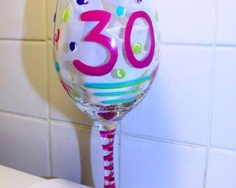 30TH Birthday Wine Glass, Custom Birthday Glasses, Personalized Birthday Gift