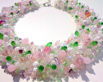 """Beaded handmade necklace """"Spring thaw.Snowdrops"""",Wedding necklace, beaded collar"""